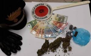 droga ed euro sequestrati dai cc della Stazione cc di Sestu ad un giovane del posto poi arrestato