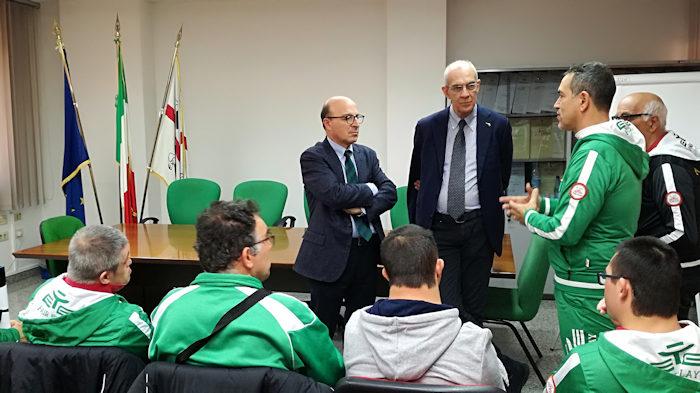 Assessore Nieddu saluta i ragazzi della polisportiva Olimpia Onlus